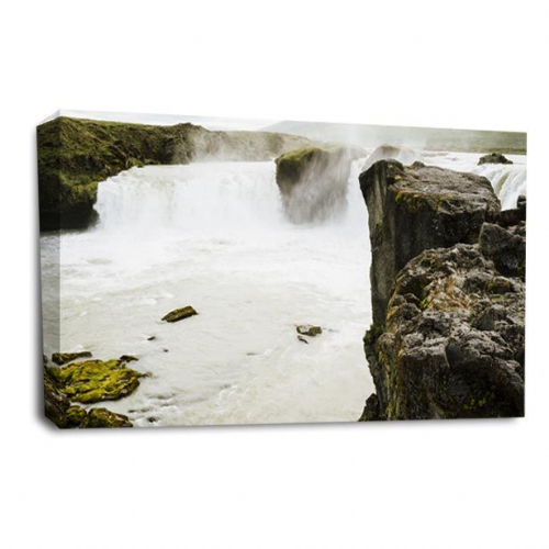 Waterfall Canvas Wall Art Picture White Grey Black Print